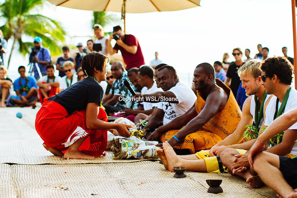 Kanoa Igarashi of the USA (pictured) presenting the Chief with a gift of kava during the Kava Ceremony at the opening of the Fiji Pro on Tavarua Island on Saturday June 4th, 2016.  PHOTO: ©WSL/ Cestari SOCIAL: @kc80 @wsl This image is the copyright of  the World Surf League and is provided royalty free for editorial use only, in all media now known or hereafter created. No commercial rights granted. Sale or license of the images is prohibited. This image is a factually accurate rendering of what it depicts and has not been modified or augmented except for standard cropping and toning. ALL RIGHTS RESERVED.