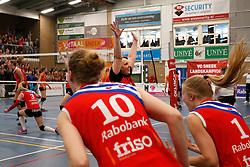 SNEEK , 24-04-2016 , Sneker Sporthal, volleybal , seizoen 2015 - 2016 , VC Sneek is landskampioen 2016 na een 3-0 overwinning in de play-offs tegen Set Up 65. Petra Groenland gaat uit haar dak na het laatste punt <br /> <br /> foto: Henk Jan Dijks