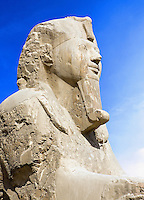 Detail of Alabaster sphinx 19th Dynasty (1341-1200 BC).  Ancient Memphis (UNESCO World Heritage List 1979). Cairo Egypt Africa