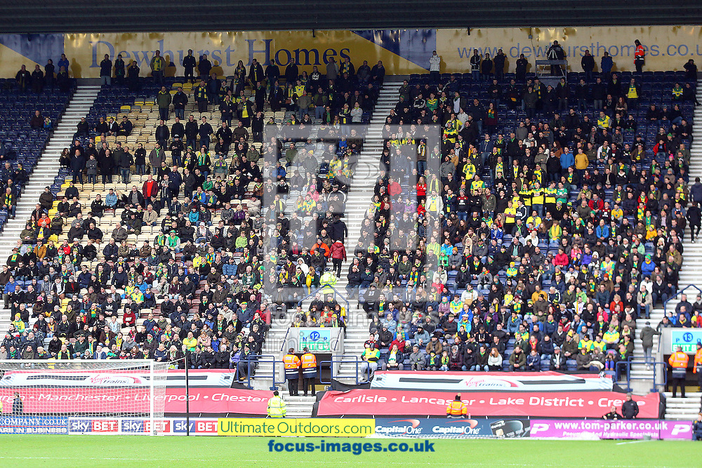The traveling Norwich fans before the FA Cup match at Deepdale, Preston<br /> Picture by Paul Chesterton/Focus Images Ltd +44 7904 640267<br /> 03/01/2015