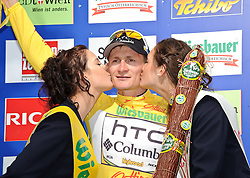 04.07.2010, AUT, 62. Österreich Rundfahrt, 1. Etappe, Dornbirn-Bludenz, im Bild Andre Greipel (GER, Team HTC Columbia), Podium, Gesamtführender, EXPA Pictures © 2010, PhotoCredit: EXPA/ S. Zangrando / SPORTIDA PHOTO AGENCY