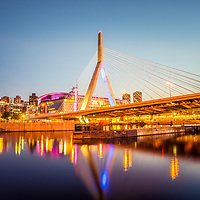 Zakim Bunker Hill Bridge at night Boston photo. The Leonard P. Zakim Bunker Hill Memorial Bridge is a cable bridge that spans the Charles River in Boston, Massachusetts in the Eastern United States of America.