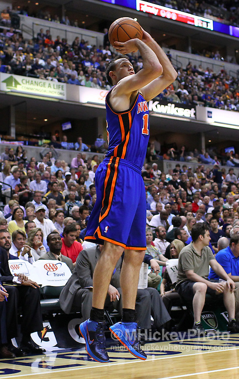 April 03, 2012; Indianapolis, IN, USA; New York Knicks small forward Steve Novak (16) shoots a jumper in the corner against the Indiana Pacers at Bankers Life Fieldhouse. Indiana defeated New York 112-104. Mandatory credit: Michael Hickey-US PRESSWIRE