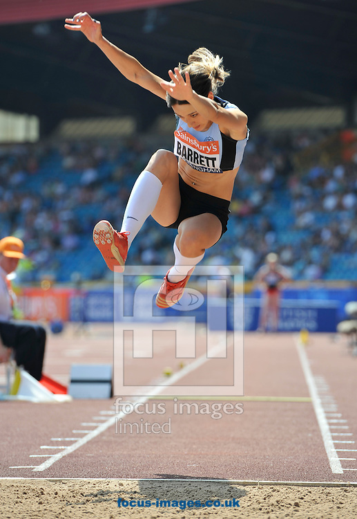 Picture by Alan Stanford/Focus Images Ltd +44 7915 056117<br /> 12/07/2013<br /> Angela Barrett (GBR) Triple jump pictured during day two of Sainsbury's British Championship at Alexander Stadium, Birmingham.