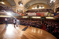 © licensed to London News Pictures. London, UK. 07/03/12. Speakers adress the main rally  in the Methodist Central Hall, Westminster. 'Save our NHS' march & rally in Central London in protest against proposed government changes to the National Health Service. Photo credit: Jules Mattsson/LNP
