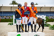 Podium Young Riders 1. Philipp Schulze Topphoff, 2. Paloma Barcelo, 3. Lars Kersten<br /> FEI European Championships 2019<br /> © DigiShots