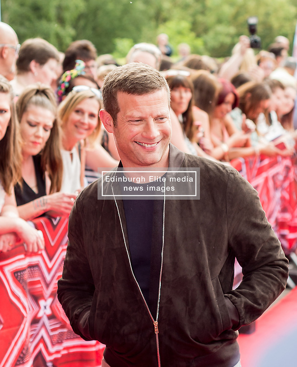 X Factor presenter Dermot O'Leary at the X Factor auditions held at the Leicester City's King Power Stadium<br /> <br /> (c) John Baguley | Edinburgh Elite media