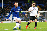 Everton striker Wayne Rooney (10) gets a shot at goal during the Europa League match between Everton and Atalanta at Goodison Park, Liverpool, England on 23 November 2017. Photo by Craig Galloway.