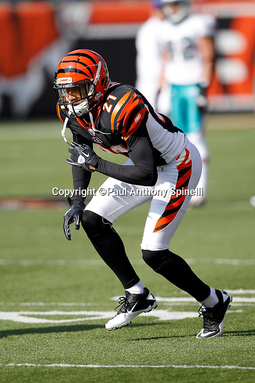 Cincinnati Bengals cornerback Brandon Ghee (21) drops back in pass coverage during pregame warmups at the NFL week 8 football game against the Miami Dolphins on Sunday, October 31, 2010 in Cincinnati, Ohio. The Dolphins won the game 22-14. (©Paul Anthony Spinelli)