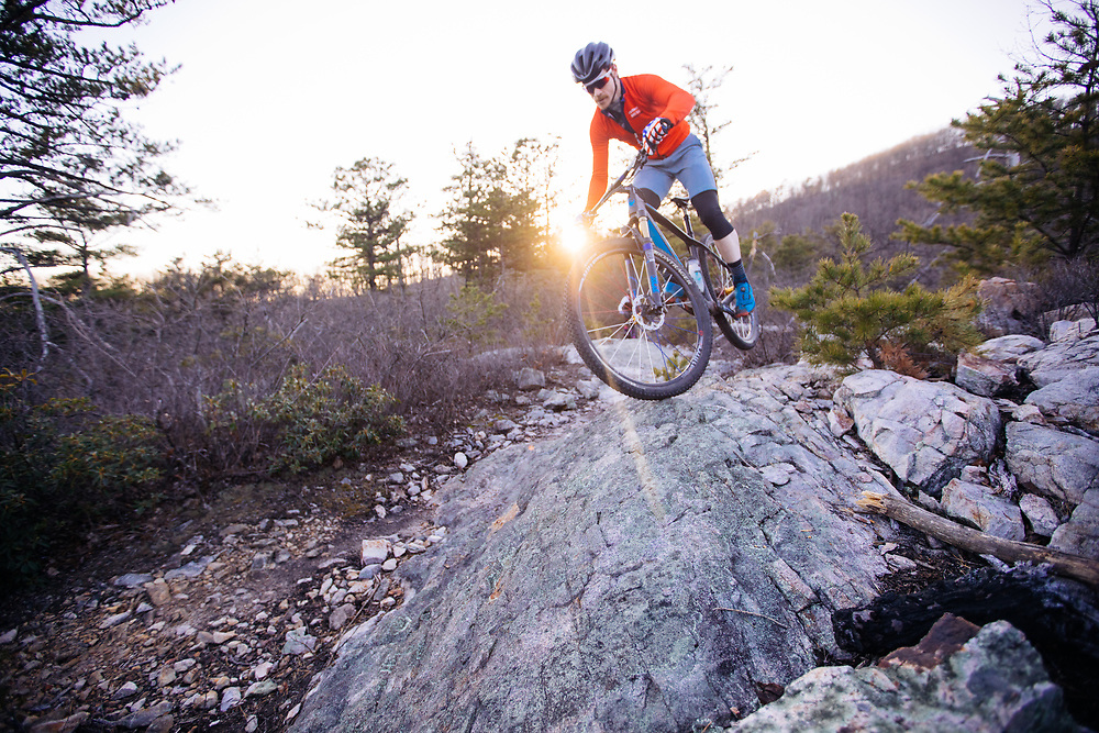 Mountain biking in the Blue Ridge Mountains.
