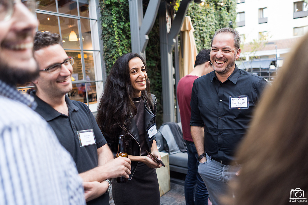 UpWest Labs host their evening mixer at Pizzeria Delfina in Palo Alto, California, on September 19, 2019. (Stan Olszewski/SOSKIphoto)