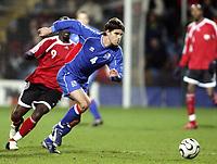 Fotball<br /> 01.03.2006<br /> Trinidad and Togabo v Island<br /> Foto: Dppi/Digitalsport<br /> NORWAY ONLY<br /> <br /> STEFAN GISLASON (ICE) AND FC LYN OSLO / AURTIS WHITLEY (TRI)