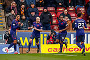 Steven Naismith of Hearts celebrates his equaliser during the Ladbrokes Scottish Premiership match between Motherwell and Heart of Midlothian at Fir Park, Motherwell, Scotland on 17 February 2019.