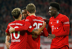 05.02.2020, Allianz Arena, Muenchen, GER, DFB Pokal, FC Bayern Muenchen vs TSG 1899 Hoffenheim, Achtelfinale, im Bild Jubel von links: Philippe Coutinho, David Alaba, Thomas Müller und Alphonso Davies // during the German Pokal the round of last sixteen match between FC Bayern Muenchen and TSG 1899 Hoffenheim at the Allianz Arena in Muenchen, Germany on 2020/02/05. EXPA Pictures © 2020, PhotoCredit: EXPA/ SM<br /> <br /> *****ATTENTION - OUT of GER*****