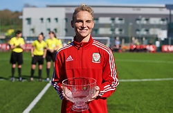 YSTRAD MYNACH, WALES - Wednesday, April 5, 2017: Wales' Jessica Fishlock receives a glass bowl to mark her 100th appearance ahead of the Women's International Friendly match against Northern Ireland at Ystrad Mynach.(Pic by Laura Malkin/Propaganda)