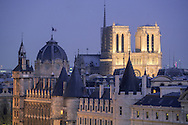 """France. Paris. 1st district. Elevated view.  Notre dame cathedral, conciergerie, justice palace, city island . roofs. bell tower view  from the """" Samaritaine"""" dpt store roof top."""