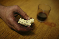Domaine du Vissoux, Beaujolais.hand of Pierre-Marie Chermette at dinner.September 16, 2007..Photo by Owen Franken for the NY Times.