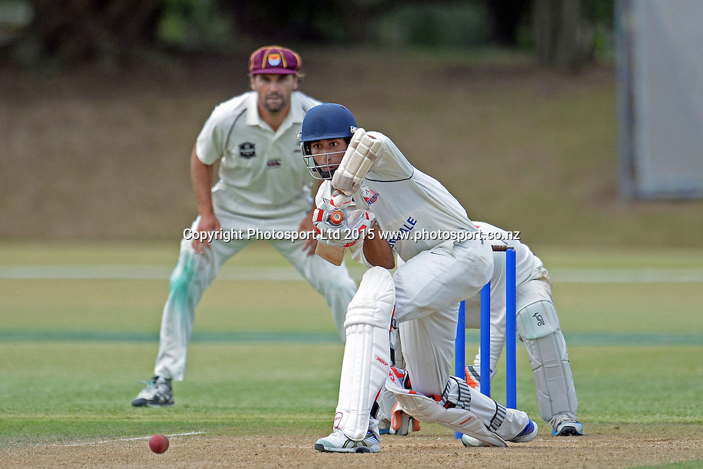 Auckland batsman Vishi Jeet in action. Plunket Shield. 4 Day match between Auckland and Northern Districts at Colin Maiden Park in Auckland. New Zealand. Sunday 08 February 2015. Copyright Photo: Raghavan Venugopal/www.photosport.co.nz