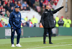 Middlesbrough manager Tony Pulis (left) and Wolverhampton Wanderers manager Nuno Espirito Santo (right) on the touchline during the Sky Bet Championship match at Riverside Stadium, Middlesbrough.