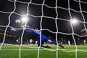 &Ouml;STERSUND, SVERIGE - 2017-10-19: Iago Herrer&iacute;n, goalkeeper of Athletic Bilbao g&ouml;r en r&auml;ddning under UEFA Europa League group J matchen mellan &Ouml;stersunds FK och Athletic Bilbao p&aring; J&auml;mtkraft Arena, den 19 oktober, 2017 i &Ouml;stersund, Sverige. <br /> Foto: Nils Petter Nilsson/Ombrello<br /> ***BETALBILD***
