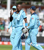 Cricket - 2019 ICC Cricket World Cup - Group Stage: England vs. Pakistan<br /> <br /> Jofra Archer of England chats with Jos Butler, at Trent Bridge, Nottingham.<br /> <br /> COLORSPORT/ANDREW COWIE