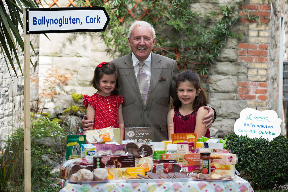 Repro Free: <br /> Well known Broadcaster Bill O&rsquo;Herlihy is pictured with fellow coeliacs Evie Burke, aged 4 and Liana Tallon, aged 8 at the launch of Ireland&rsquo;s first ever 100% Gluten Free Food Market which is taking place in the Silver Springs Moran Hotel Cork on 4 October. Entitled &lsquo;Ballynogluten&rsquo;, the food market is being organised by the Coeliac Society of Ireland, in association with Supervalu, as part of the organisation&rsquo;s annual &lsquo;National Convention&rsquo; taking place that weekend, bringing together coeliacs from all over Ireland to interact in a fun environment to learn more about the disease, discover new gluten free products and engage with other members of the ever growing coeliac community in Ireland. Picture Andres Poveda<br /> <br /> For further details, please contact:<br /> Breda Brown / Niall McHugh<br /> Unique Media<br /> Tel: (01) 522 5200 or (087) 248 7120 (BB)