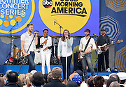 Lady Antebellum and Robin Roberts appear during the Good Morning America Concert Series at Rumsey Playfield in New York City, New York on May 23, 2014.