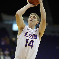 Jan 04, 2010; Baton Rouge, LA, USA;  LSU Tigers guard Chris Beattie (14)during a game against the McNeese State Cowboys at the Pete Maravich Assembly Center. LSU defeated McNeese State 83-60.  Mandatory Credit: Derick E. Hingle-US PRESSWIRE