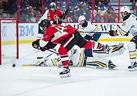OTTAWA, ON. NOVEMBER 05: Buffalo Sabres Goalie Robin Lehner (40) makes a stick save against Ottawa Senators Center Jean-Gabriel Pageau (44) during the NHL game between the Ottawa Senators and the Buffalo Sabres on November 05, 2016 at the Canadian Tires Centre in Ottawa, Ontario, Canada. <br /> <br /> Photo by Steve Kingsman/Icon Sportswire)