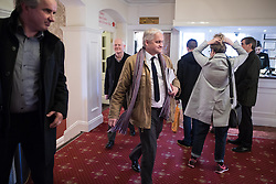 © Licensed to London News Pictures . 16/02/2017. Stoke-on-Trent, UK. PATRICK O'FLYNN leaves a hustings in Stoke-on-Trent Central by-election at the Quality Hotel in Stoke , for local businesses with Lib Dem candidate Dr Zulfiqar Ali, Conservative candidate Jack Brereton,  Labour candidate Gareth Snell and, in place of UKIP candidate Paul Nuttall who didn't turn up , Patrick O'Flynn . Photo credit: Joel Goodman/LNP