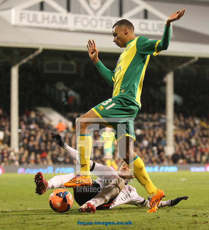 Picture by Paul Chesterton/Focus Images Ltd +44 7904 640267<br /> 14/01/2014<br /> Sascha Riether of Fulham and Josh Murphy of Norwich in action during The FA Cup 3rd Round Replay match at Craven Cottage, London.