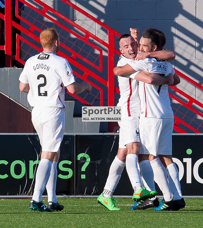Hamilton Academical celebrations for #7 Dougie Imrie's equalising goal<br /> <br /> SPFL Premiership<br /> Hamilton Academical v Aberdeen<br /> New Douglas Park, Hamilton<br /> Sunday 22 November 2015<br /> <br /> &copy; Russel Hutcheson | SportPix 2015