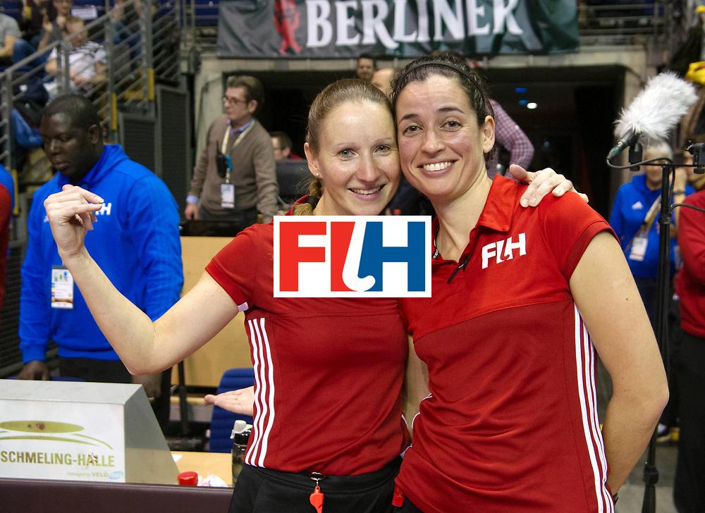 BERLIN - Indoor Hockey World Cup<br /> SF1 Netherlands - Ukraine<br /> foto: Umpires Michelle Meister and Ana Faias<br /> WORLDSPORTPICS COPYRIGHT FRANK UIJLENBROEK