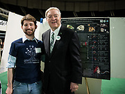 Donald Cerio poses for a picture with Ohio University President Duane Nellis during the 2018 Student Research Expo.