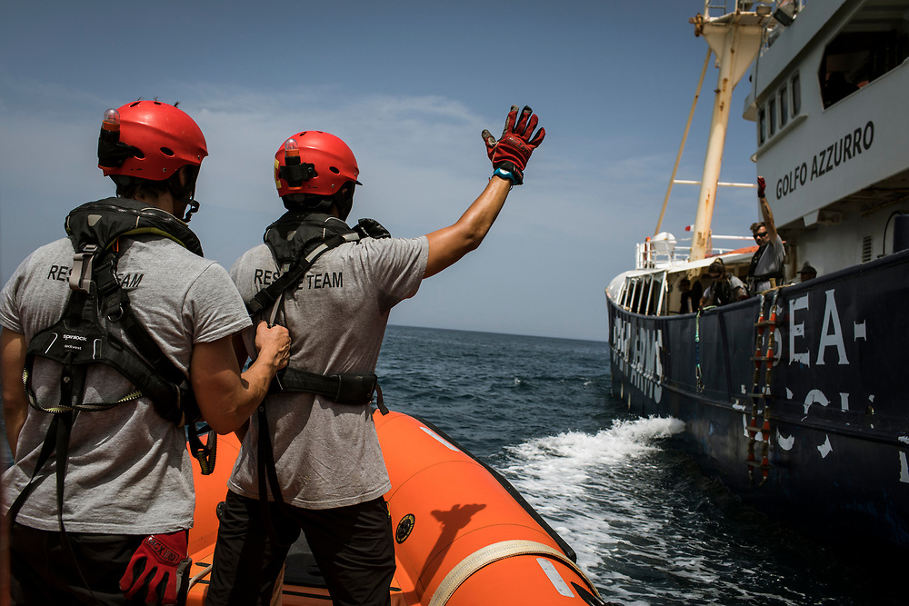 June 28th, 2017, Central Mediterranean. Speedboat maneuver leaving from Malta and heading towards Search and Rescue zone in front of Libya. NGO Proactiva Open Arms in their 20th rescue mission in the Central Mediterranean Sea on board of Golfo Azzurro vessel (photo Edu Bayer)