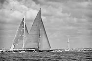 ENGLAND, Isle of Wight. 21st June 2012. J Class Solent Regatta. Hundred Guinea Cup. Lionheart, H1 (foreground) and Velsheda, K7 off Portsmouth.
