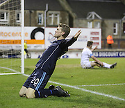 Jim McAlister takes the crowd's acclaim after opening the scoring - Raith Rovers v Dundee,  SPFL Championship at Starks Park<br /> <br />  - &copy; David Young - www.davidyoungphoto.co.uk - email: davidyoungphoto@gmail.com