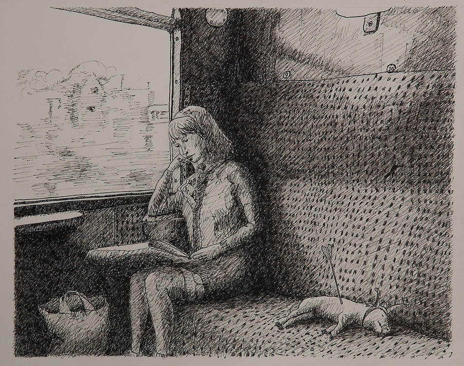 BRINGING HOME THE PIG, ink drawing 1991