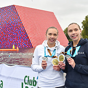 Katherine Gray,Katrina Gray is a Twin sister receive a medal Swim Serpentine 2018, London, UK. 22 September 2018.