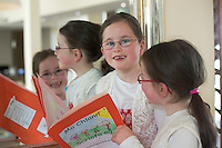 02/06/2014 Twins Caoimhe(author) and Aoibhe Ni Oireachtaigh  from Moycullen  O  at the 13th annual Write  Book Awards, in the Radisson blu hotel Galway, organised by The Galway Education Centre. The children who ranged in age from just 5 years to 12 years have all composed, written, illustrated and bound their own individual books and their efforts will be recognised at two special awards ceremonies, one in Irish and one in English. Photo:Andrew Downes