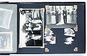vintage photo album page with weddings and missing image England