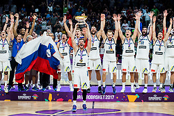 Goran Dragic of Slovenia with a Trophy and other players of Slovenia celebrating at Trophy ceremony after winning during the Final basketball match between National Teams  Slovenia and Serbia at Day 18 of the FIBA EuroBasket 2017 when Slovenia became European Champions 2017, at Sinan Erdem Dome in Istanbul, Turkey on September 17, 2017. Photo by Vid Ponikvar / Sportida