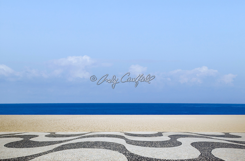 Copacabana beach day digital composite without people, Rio de Janeiro, Brazil