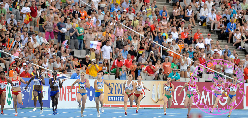 DARIA KORCZYNSKA ( MAIDEN NAME: ONYSKO ) & MARIKA POPOWICZ (BOTH POLAND) COMPETES IN THE WOMEN'S RELAY 4 X 100 METERS FINAL DURING THE 2010 EUROPEAN ATHLETICS CHAMPIONSHIPS AT OLYMPIC STADIUM IN BARCELONA, SPAIN...SPAIN , BARCELONA , AUGUST 1, 2010..( PHOTO BY ADAM NURKIEWICZ / MEDIASPORT )..PICTURE ALSO AVAIBLE IN RAW OR TIFF FORMAT ON SPECIAL REQUEST.