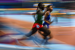 March 4, 2018 - Birmingham, England, United Kingdom - Francine Niyonsaba ofBurundi wins 800 meters  at World indoor Athletics Championship 2018, Birmingham, England on March 4, 2018. (Credit Image: © Ulrik Pedersen/NurPhoto via ZUMA Press)