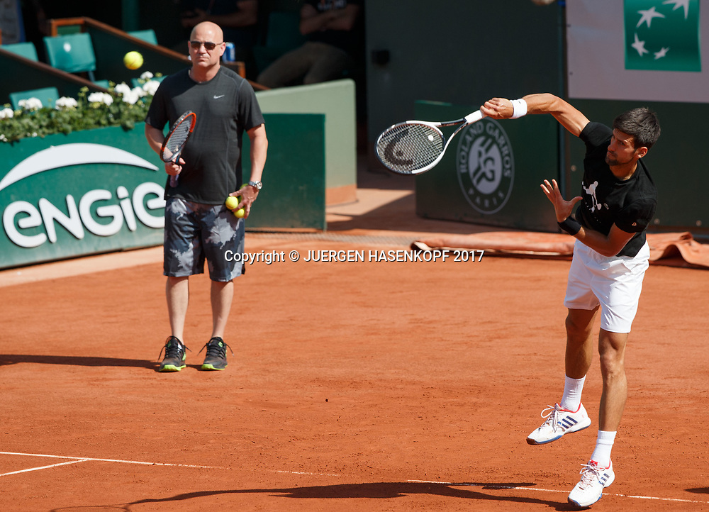 NOVAK DJOKOVIC (SRB), Training mit Coach Andre Agassi<br /> <br /> Tennis - French Open 2017 - Grand Slam ATP / WTA -  Roland Garros - Paris -  - France  - 29 May 2017.
