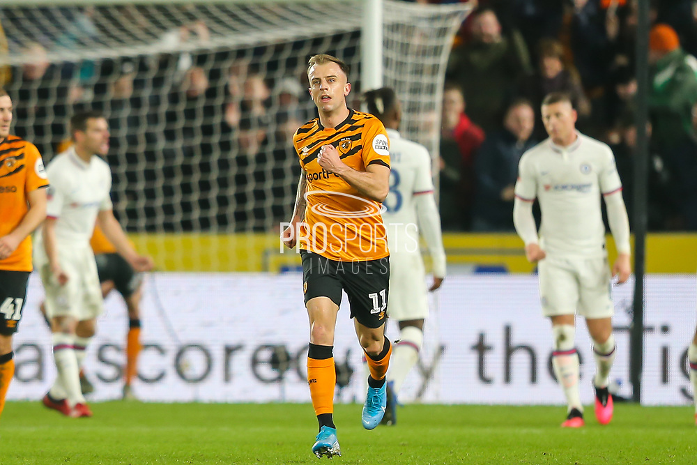 Hull City midfielder Kamil Grosicki (11) punches the air in celebration after scoring his team's first goal during The FA Cup match between Hull City and Chelsea at the KCOM Stadium, Kingston upon Hull, England on 25 January 2020.