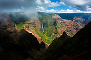 Waimea Canyon waterfall, Kauai, Hawaii
