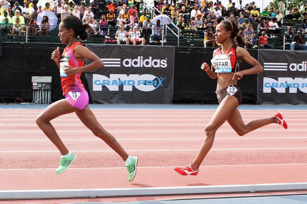 Samsung Diamond League adidas Grand Prix track & field; women's 5000 meters, Kidane leads Defar