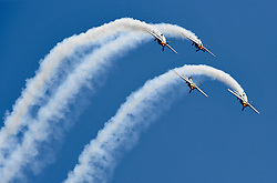 April 27, 2017 - Aerobatic aircrafts fly during a performance at the Airshow Zhengzhou 2017 in Zhengzhou, capital of central China's Henan Province. The 5-day air show kicked off in Zhengzhou on Thursday, aiming to build a general aviation gathering center for business and communications. (Credit Image: © Li An/Xinhua via ZUMA Wire)